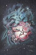 Patsy Sharpe Painting Metal Prints - The Trifid Nebula Metal Print by Patsy Sharpe