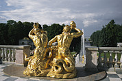 Greek Sculpture Posters - The Triton Fountain At The Peterhof Poster by Sisse Brimberg