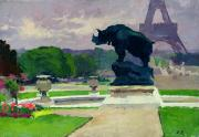 Rhinoceros Posters - The Trocadero Gardens and the Rhinoceros Poster by Jules Ernest Renoux