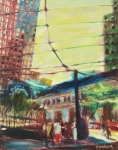 Trolley Paintings - The Trolley Line by Bob Dornberg