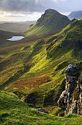 Highlands Of Scotland Posters - The Trotternish Hills from the Quiraing Isle of Skye Poster by John McKinlay