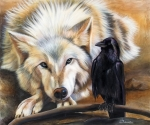 Raven Paintings - The Truce by Sandi Baker