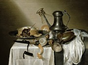 Tablecloth Paintings - The Truffle Pie by Maerten Boelema de Stomme