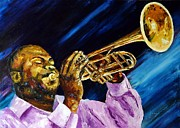 Trumpetist Paintings - The trumpet player by Jean-Marc JANIACZYK