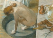 Female Nude Pastels - The Tub by Edgar Degas