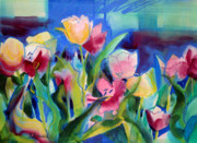 Natural Mixed Media Prints - The Tulips Bed Rock Print by Kathy Braud