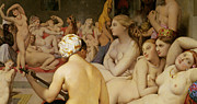 Nudes Posters - The Turkish Bath Poster by Ingres