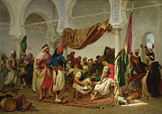 Arabian Paintings - The Turkish Cafe by Charles Marie Lhuillier