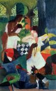 Modern Dog Art Paintings - The Turkish Jeweller  by August Macke