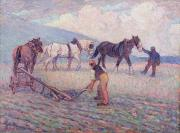 Plough Framed Prints - The Turn - Rice Plough Framed Print by Robert Polhill Bevan
