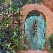 Adobe Building Pastels Posters - The Turquoise Door Poster by Julia Patterson