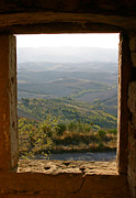 Tuscan Hills Framed Prints - The Tuscan Plain from Ruined Monastery in Volterra Framed Print by Mathew Lodge