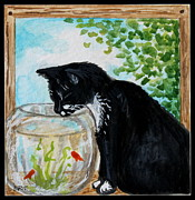 Furry Felines Painting Prints - The Tuxedo Cat and The Fish bowl Print by Elizabeth Robinette Tyndall