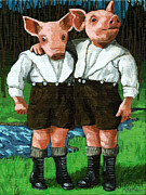 Linda Apple Painting Metal Prints - The Tweedle Brothers Metal Print by Linda Apple