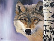Wolf Artist Painting Posters - The Twilight Visitor  Poster by Ruth Wallace