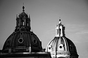 Maria Framed Prints - The twin domes of S. Maria di Loreto and SS. Nome di Maria Framed Print by Fabrizio Troiani