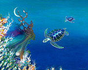 Scuba Paintings - The Twin Turtles of Oceania by Lee Pantas