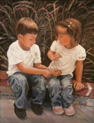 Best Friends Paintings - The Twins by Alan Schwartz