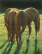 Grazing Horse Posters - The Twins Poster by Karen Coombes