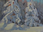 Snow Covered Pine Trees Paintings - The Twins study by Len Stomski