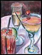 Cocktails Paintings - The Twisted Trio by Jami Childers