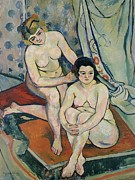 Knelt Paintings - The Two Bathers by Marie Clementine Valadon