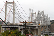 Carquinez Strait Metal Prints - The Two Carquinez Bridges At Crockett and Vallejo California . aka Alfred Zampa Memorial Bridge . 7D8919 Metal Print by Wingsdomain Art and Photography