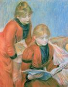 Books Pastels Posters - The Two Sisters Poster by Pierre Auguste Renoir