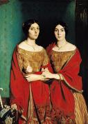 Dark Red Paintings - The Two Sisters by Theodore Chasseriau