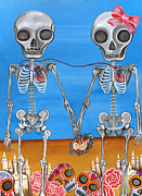 Lowbrow Painting Framed Prints - The Two Skeletons Framed Print by Jaz Higgins