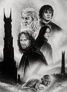 Rings Drawings Prints - The Two Towers Print by Andrew Read