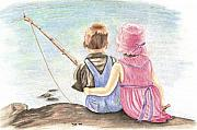 Boy And Girl Prints - The Ultimate Fishing Trip Print by Russ  Smith