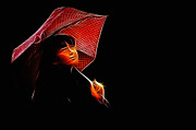 Woman Waiting Digital Art - The Umbrella Girl by Stefan Kuhn