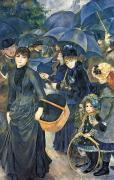 Raining Framed Prints - The Umbrellas Framed Print by Pierre Auguste Renoir
