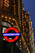 Night Photography Posters - The Underground and Harrods at Night Poster by Heidi Hermes