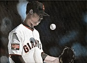 Baseball Art Framed Prints - The Undersized Giant Framed Print by Jason Yoder