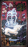 Unicorn Tapestries Paintings - The Unicorn and Garden by Genevieve Esson