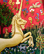 Red Tapestries - Textiles Posters - The Unicorn Poster by Genevieve Esson