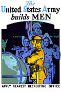 World War 1 Posters - The United States Army Builds Men Poster by War Is Hell Store