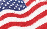 Red Glass Art Prints - The United States Flag Print by Heidi Smith