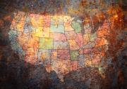 Cities Mixed Media Metal Prints - The United States Metal Print by Michael Tompsett