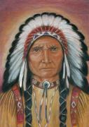 Native Chief Drawings - The Unknown Chief by Linda Nielsen