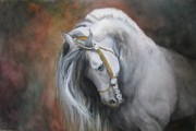 White Horse Painting Originals - The Unreigned King by Nonie Wideman