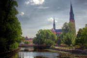 Tree Lined Framed Prints - The Uppsala Cathedral Framed Print by Mark Richards