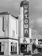 Houses Photographs Framed Prints - The Uptown Theater in Napa California Wine Country . Black and White . 7D8927 Framed Print by Wingsdomain Art and Photography