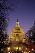 Capitol Building Posters - The U.s. Capitol Building Lit Poster by Kenneth Garrett