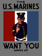 Vet Posters - The U.S. Marines Want You  Poster by War Is Hell Store