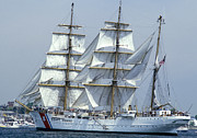 Law Enforcement Framed Prints - The Uscgc Eagle, A 295-foot Barque Used Framed Print by Michael Wood