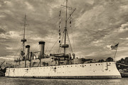 Dreadnought Prints - The USS Olympia Black and White Print by JC Findley