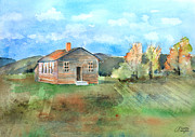 School Houses Painting Posters - The Vacant Schoolhouse Poster by Arline Wagner